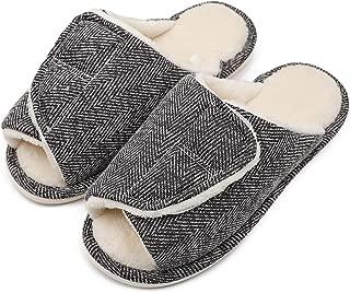 Women's Slip On Slide Comfortable House Slippers Adjustable Open Toe Plush Terry Warm Bedroom Shoes for Wide Arthritic Swollen Feet, Elderly, Mom, Wife, Diabetic, Edema, Bunion