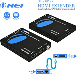 Orei HDMI Extender UltraHD Over Single Cat6/Cat7 Cable 4K @ 60Hz with HDR & IR Control - Up to 165 ft EDID Management