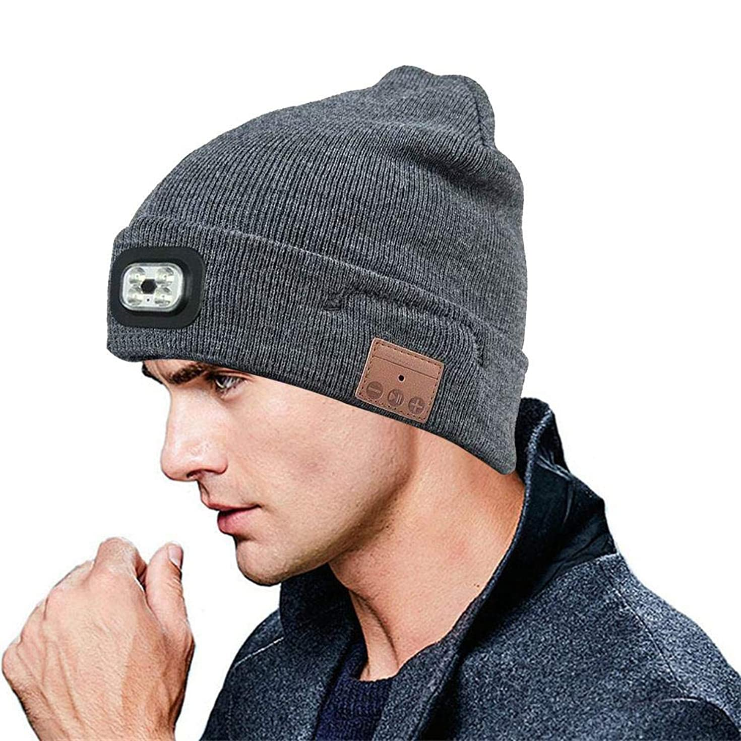 FOONEE Wireless Bluetooth Beanie Hat Music Knitted Cap with LED Headlamp Wireless Headphone- USB Rechargeable Musical Cap for Men, Women & Teens
