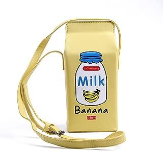 LUI SUI Girls Fruits Banana Strawberry Milk Box Cross Body Purse Bag Women Phone Wallet Shoulder Bags Gift for Friends