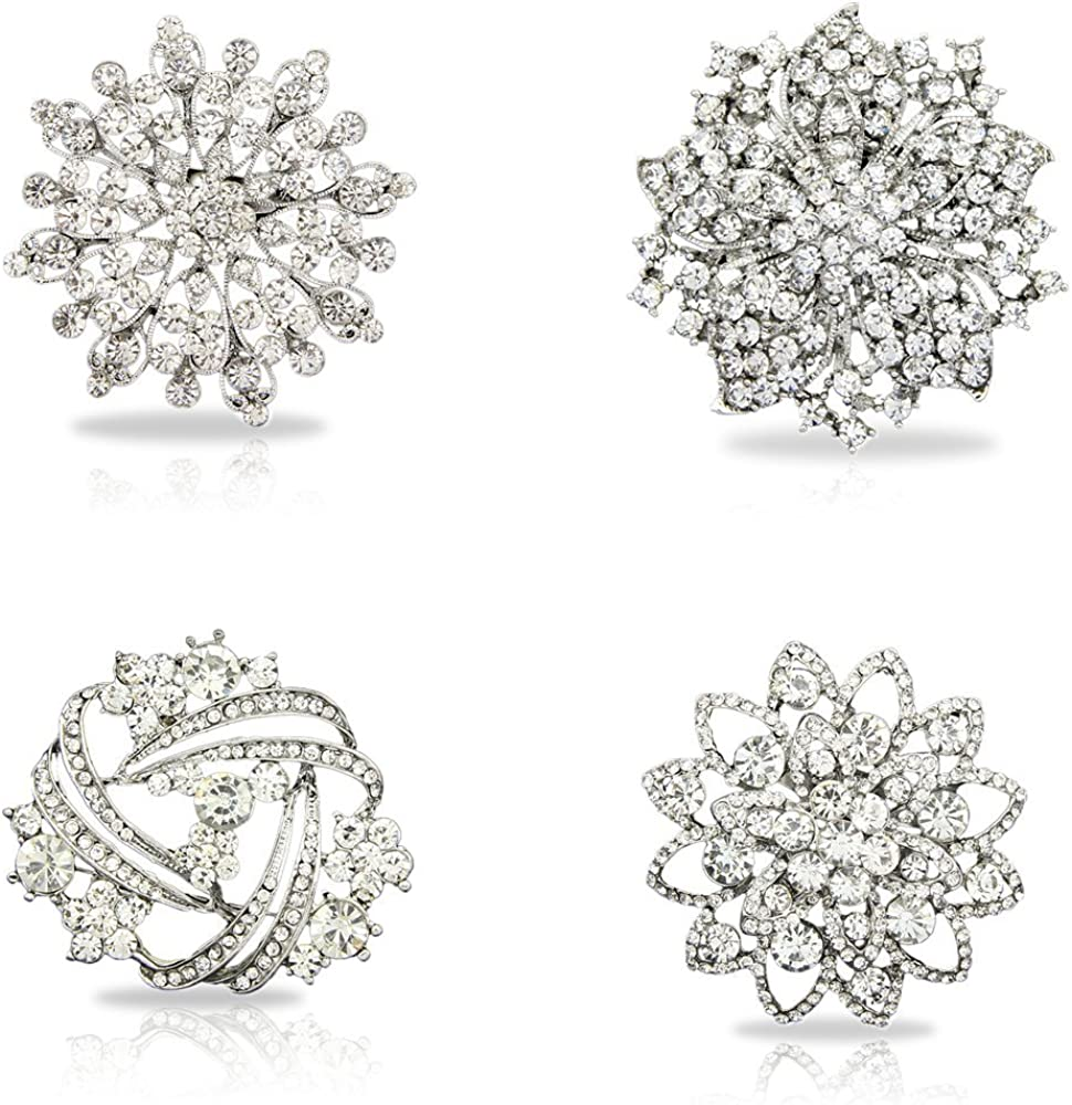 Danbihuabi Fashion Womens Clear Crystal Brooch Mixed Lot