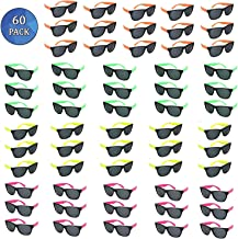 Totem World 60 Plastic Neon Party Sunglasses - Colorful 80s Shades with Hinges and Scratch-Free Lenses - Perfect as Party ...