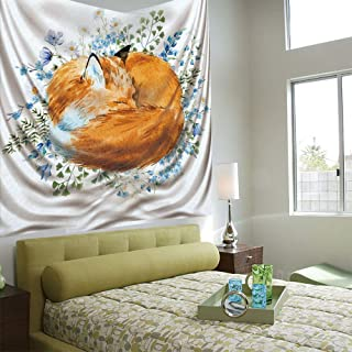 Tapestry Wall Hanging 3D Printing Tree Tapestry Wall TapestryLiving Room Bedroom,Fox,Sleeping Fox in Watercolors Hand Drawn Fresh Wild Flowers Blossoms Artwork Decorative,Orange Blue Olive Green
