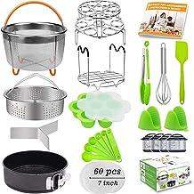 21Pcs Accessories for Instant Pot 6 qt 8qt, Ninja Foodi 8qt - 60 Pcs Parchment Papers, 2 Steamer Baskets, Springform Pan,S...