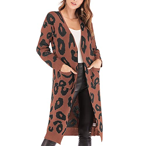 235fc05c49 BTFBM Women Long Sleeve Open Front Leopard Knit Long Cardigan Casual Print  Knitted Maxi Sweater Coat
