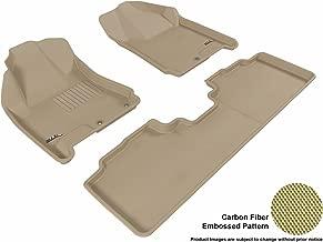 3D MAXpider Complete Set Custom Fit All-Weather Floor Mat for Select Cadillac SRX Models - Kagu Rubber (Tan)