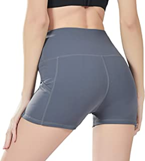 Uhnice Yoga Shorts with Pockets High Waist Tummy Control Workout Pants