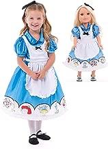 Little Adventures Alice Dress Up Costume with Headband & Matching Doll Dress (Medium Age 3-5)