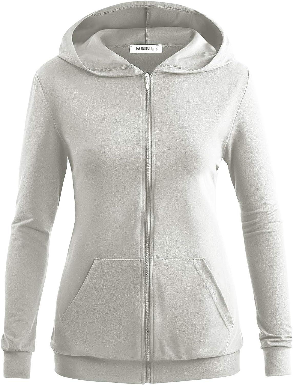 Doublju Women's Front Pocket Zip-up Lightweight Hoodie with Plus Size
