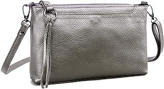 Artwell Damen Umhängetasche aus echtem Leder, kleine Schultertasche mit Reißverschluss, Clutch, Handygeldbörse für Damen