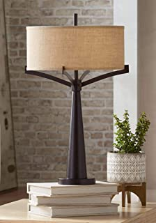 Tremont Mid Century Modern Table Lamp Rich Bronze Iron Burlap Fabric Drum Shade for Living Room Family Bedroom Bedside - Franklin Iron Works