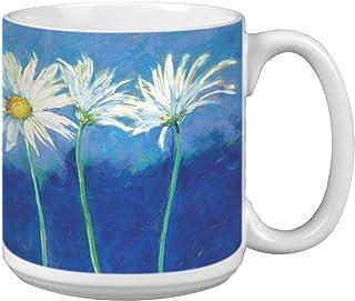 Tree-Free Greetings Extra Large 20-Ounce Ceramic Coffee Mug, Daisies On Blue Themed Nel Whatmore Art (XM29585)