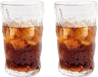 Water Glasses مجموعة من الزجاج من قطعة من قطعتين من 12.5 أوقية خالية من الزجاج المجلد النمط الزجاجي كوب زجاجي مناسبة لجميع...