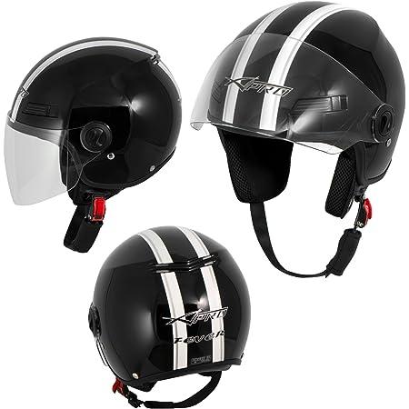 Motorradhelm Motorrad Roller Offenes Jet Helm Viser Ece 22 05 Schwarz S Auto