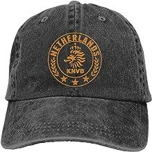 Men Vintage Adjustable Casquette Personalized Netherlands National Soccer Team Round Crest Funny Cotton Baseball Cap, Blue