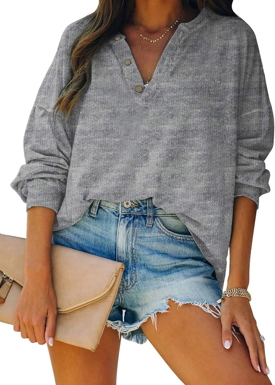 Paitluc Button Up Long Women T Shirt V Neck Long Sleeve Tops Pullover for Women