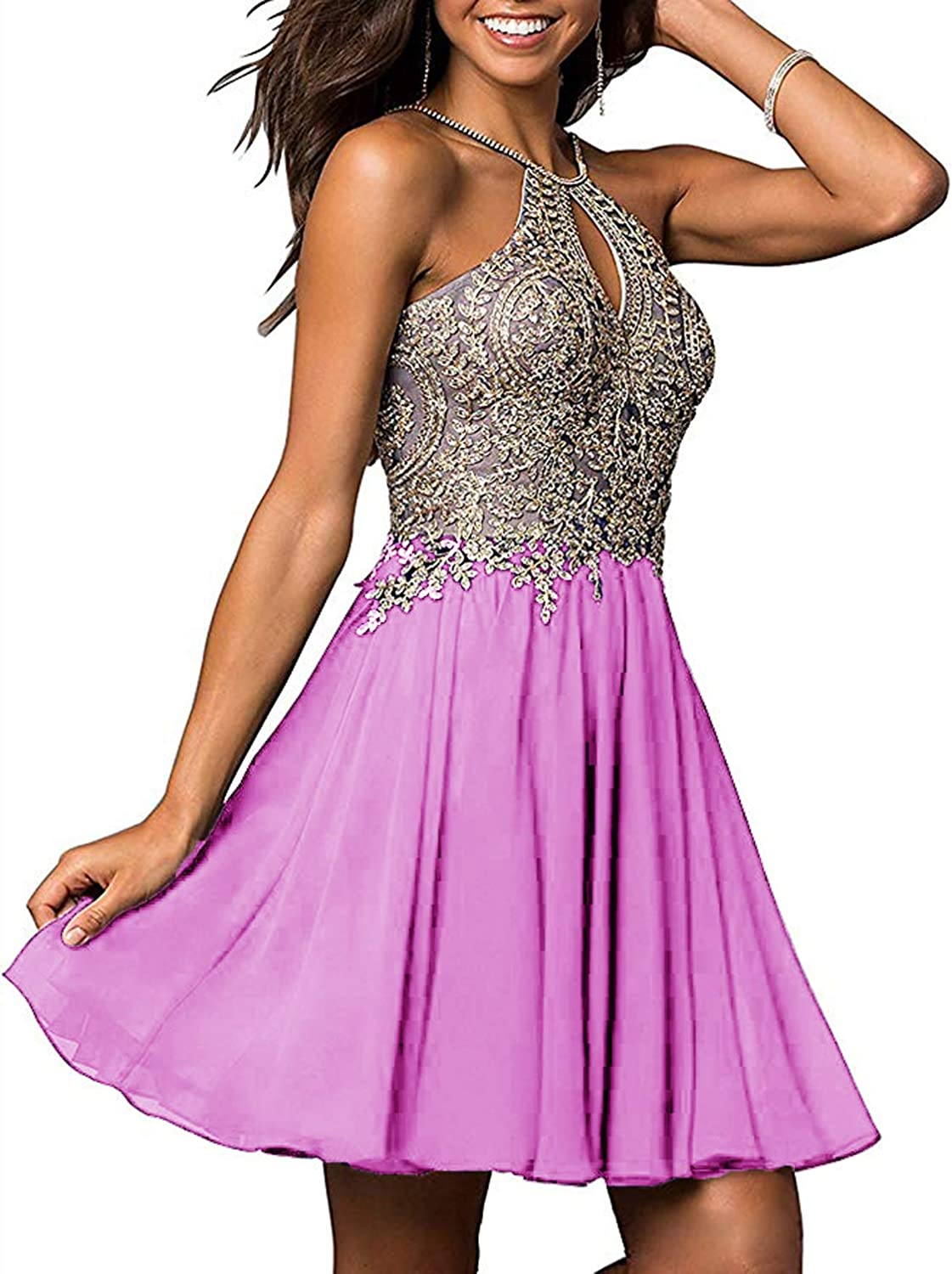 TTYbridal Lace Homecoming Dresses Short Organza Cocktail Prom Party Gown