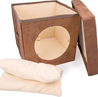 """Cat Condo Pet Cube (15x15x15) – Cat House Pet Bed Hideaway for Your Kitty's Privacy and Entertainment! Durable, Washable, Easy to Clean & Non-Toxic Cat Bed – Large 8.5"""" Entry with Easy Carry Handle!"""