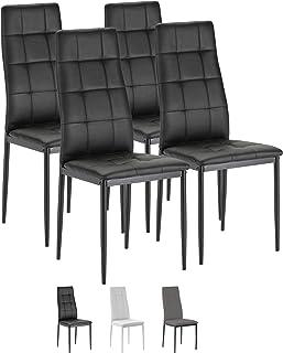 VS Venta-stock Set de 4 sillas Comedor Chelsea tapizadas Negro, certificada por la SGS, 42 cm (Ancho) x 51 cm (Profundo) x 97 cm (Alto)