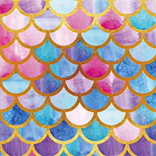 AOFOTO 5x5ft Fairytale Mermaid Scale Backdrop Abstract Fish Skin Texture Photography Background Magic Marine Style Oceanic Undersea Summer Holiday Party Decoration Baby Shower Banner Nautical Carnival
