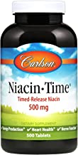 Carlson - Niacin-Time, Time-Release Niacin 500 mg, Energy Production, Heart Health & Nerve Function, 500 tablets