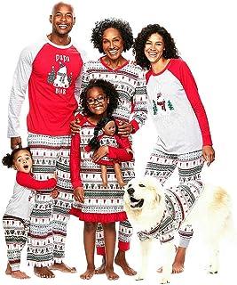 Familia Pijamas de Navidad, Moda Estampados Navidad Ropa de Dormir Conjunto Manga Larga Xmas Familia a Juego Pijamas