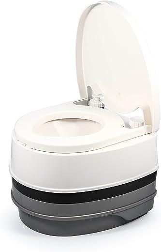 Camco Premium Portable Travel Toilet | 2.6 gallon | Three Directional Flush and Swivel Dumping Elbow (41535)