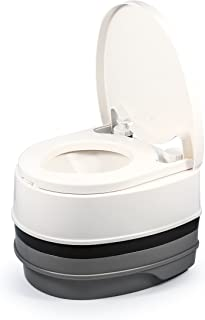 Camco 41535 Premium Portable Travel Toilet | 2.6 gallon | Three Directional Flush and Swivel Dumping Elbow | Designed for Camping, RV, Boating and Other Recreational Activities