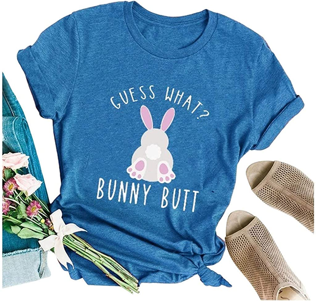 Hotkey Easter Women's Short Sleeve Tops, GUESS WHAT? BUNNY BUTT Crewneck T-Shirts Cute Bunny Letter Printed Tee Top Blouses