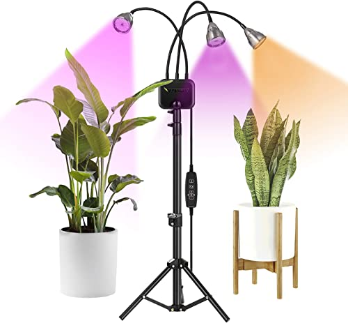 discount VIVOSUN Tri-Head 60W LED Grow Lights with lowest Stand, Adjustable Tripod 15-47-inch Tripod, Full Spectrum Plant Lamp with Cycle Timer new arrival for Indoor Plants, Timing 3/9/12H outlet online sale