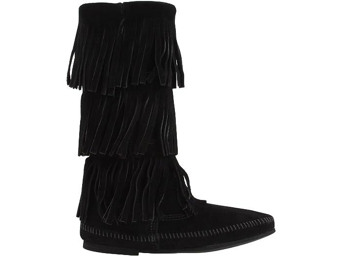 Minnetonka Womens Calf Hi 2-Layer Fringe Boot