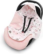 EliMeli EINSCHLAGDECKE für Babyschale Baby Decke für Autositz und Kinderwagen aus Waffelstoff und Baumwolle mit Füllung, universal z.B. Maxi Cosi Kinderwagendecke Rosa - Herzen