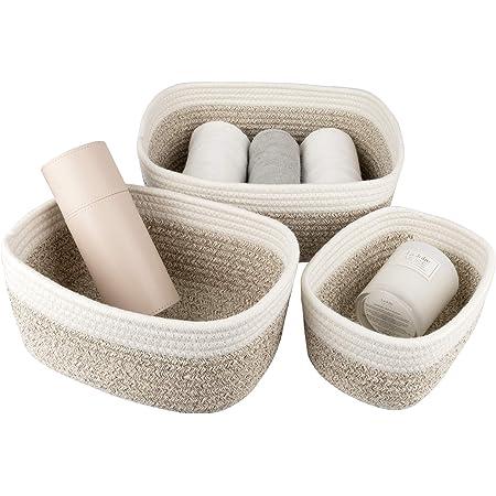 La Jolíe Muse Panier de rangement de 13,5 cm en coton tissé, ensemble de 3 corbeilles empilables à usages multiples, blanc et marron clair