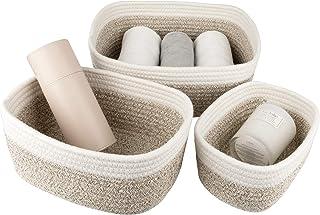 La Jolíe Muse Panier de rangement de 13,5 cm en coton tissé, ensemble de 3 corbeilles empilables à usages multiples, blanc...