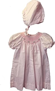 Connie's Kids Smocked Daydress with Rosette Embroidery & Bonnet