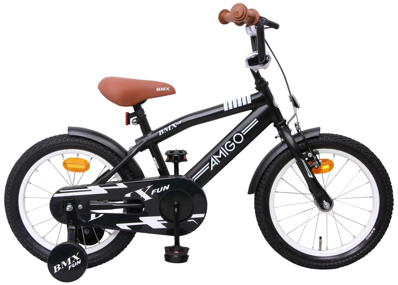 BMX Fun - Bicicleta infantil de 16 pulgadas - Niños - Con ruedas de entrenamiento y freno de montaña - Negro: Amazon.es: Deportes y aire libre