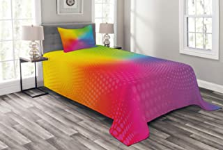 Ambesonne Rainbow Bedspread, Vibrant Neon Colors Circles Rounds Dots Radiant Composition Iridescent Effect Print, Decorative Quilted 2 Piece Coverlet Set with Pillow Sham, Twin Size, Rainbow Colors