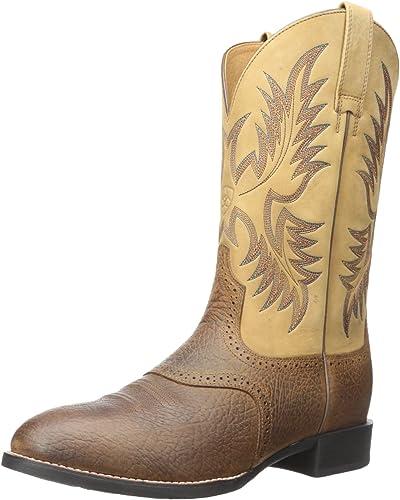 Ariat - Chaussures Heritage Stockman Stockman Western Western Hommes, 42 M EU, Tumbled marron Beige  dégagement jusqu'à 70%