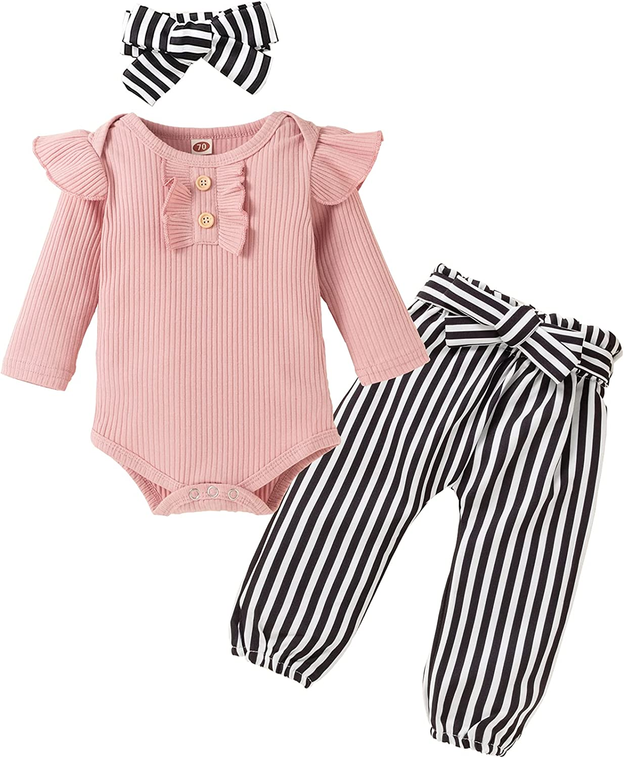 Newborn Baby Girls Outfits Flying Sleeve Romper+Cute Pants+Headband 3PC Infant Girl Clothes Set