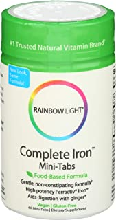 Rainbow Light - Complete Iron Mini-Tabs, Gently Encourages Healthy Iron Levels by Promoting Iron Absorption with Ferractiv...