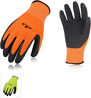 Vgo 6Pairs Latex Rubber Coated Gardening and Work Gloves (Size L, High-Vis Green&Orange, RB6023)