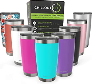 CHILLOUT LIFE 20 oz Stainless Steel Tumbler with Lid & Gift Box | Double Wall Vacuum Insulated Travel Coffee Mug with Splash Proof Slid Lid | Insulated Cup for Hot & Cold Drinks, Powder Coated Tumbler