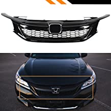 Fits for 2016-2017 9th Generation Honda Accord Sedan Gloss Black Out Sport Style Mesh Front Grille Grill