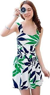 Ensasa Fashion 体型カバー 大きいサイズ ワイヤー入り リーフ柄 レディース 可愛い ワンピース水着