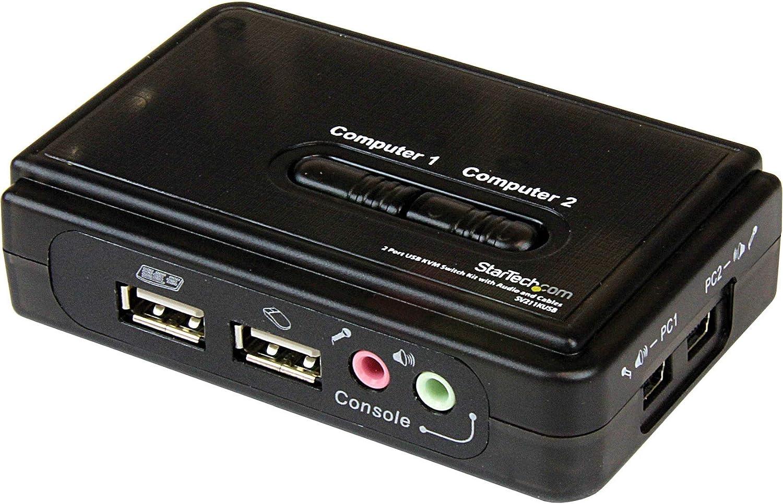 StarTech.com 2 Port USB VGA KVM Recommendation Hot-Key free Single Switch -