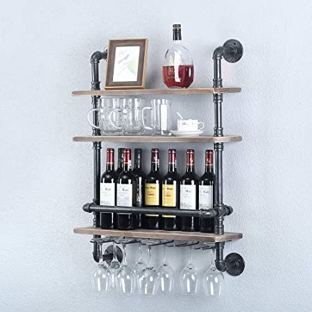 Iron Pipe Wall Shelf Hook Red Wine Holder Rack for Home Bar DIY Decoration