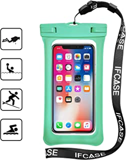 Universal Waterproof Case, IFCASE Floating Airbag TPU Phone Dry Bag Pouch for iPhone 6/6S/8/7 Plus, Samsung Galaxy S10/S9/S8 Plus, LG Stylo 3/4/5, Google Pixel 3/2/1 XL (Green) 2 Pack