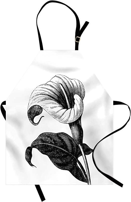 Lunarable Calla Lily Apron Vintage Style Engraved Illustration Of A Single Blossom Of Zantedeschia Unisex Kitchen Bib Apron With Adjustable Neck For Cooking Baking Gardening Black And White