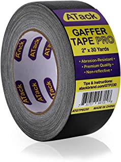 ATack Gaffer Tape Pro, Black, 2-Inches X 30 Yards- Premium Grade and Easy Tear Matte Black Gaff Main Stage Tape for Photog...