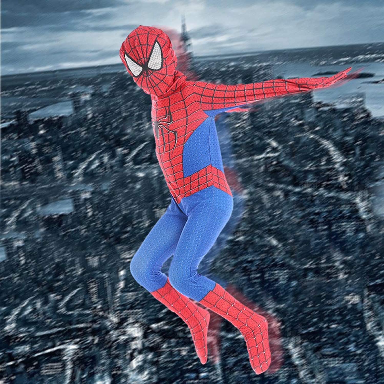 QXMEI Htuttioween Costume Cosplay Spideruomo Anime Costume Bambini Mostrano Tuta da Supereroe Tuta,rossoblu-S(95-110CM)